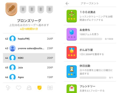 Duolingo ランキングとアチーブメント